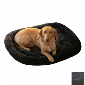 Snoozer Black Fur Oval Dog Bed