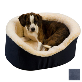 Snoozer Navy Poly Cotton Oval Dog Bed