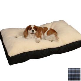 Snoozer Cream/Azure Plaid Polyester/Cotton Rectangular Dog Bed
