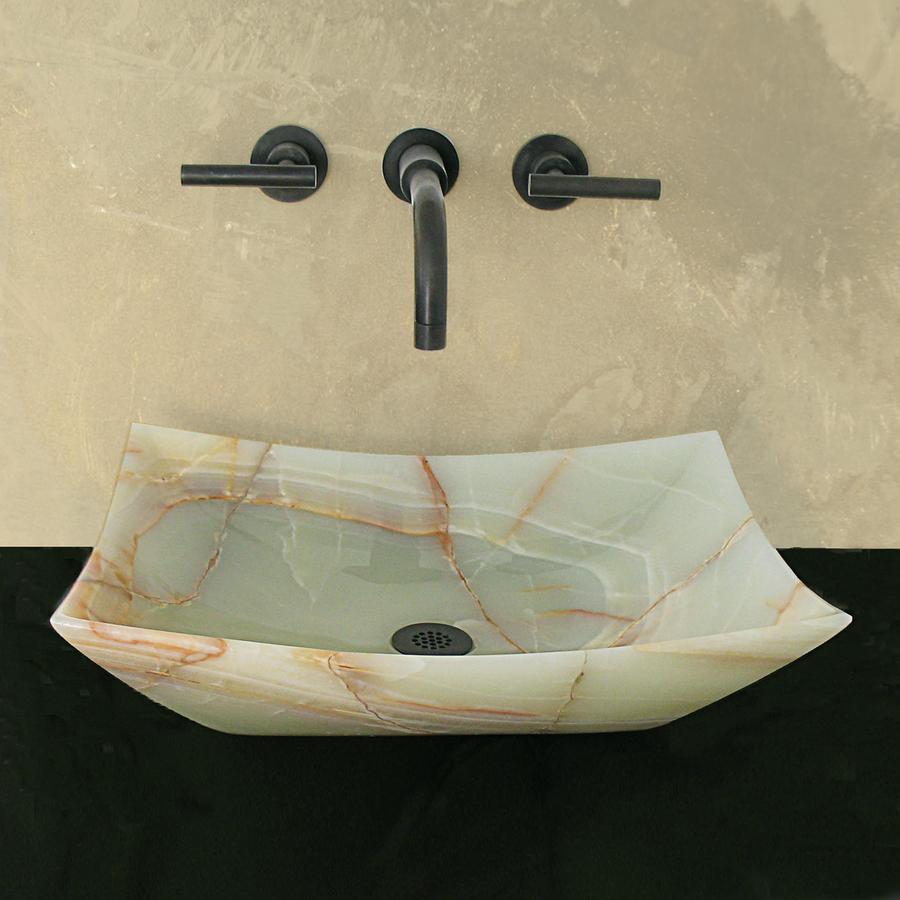 Small Rectangular Vessel Sink : ... in D Green Onyx Natural Stone Rectangular Vessel Sink at Lowes.com