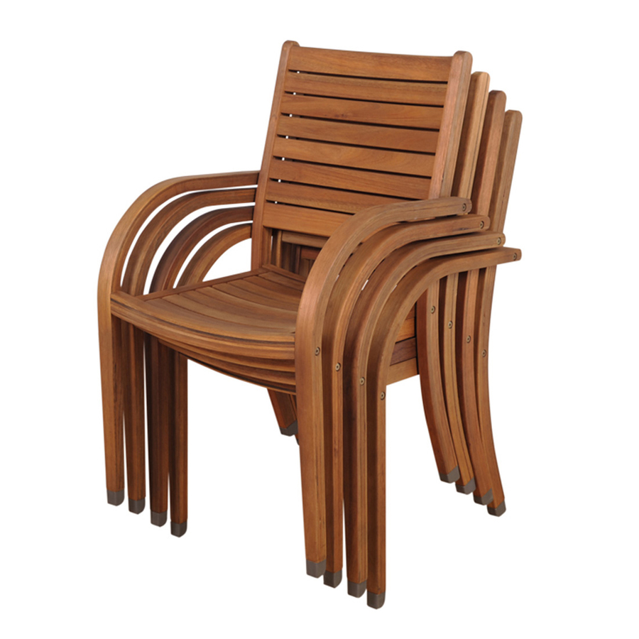 Shop International Home Set Of 4 Amazonia Slat Seat Wood Stackable Patio Dini