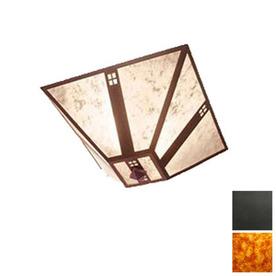 Steel Partners 17-in W Old Iron Semi-Flush Mount Light