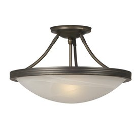 Galaxy Julian 15.102-in W Oil-Rubbed Bronze Marbleized Semi-Flush Mount Light
