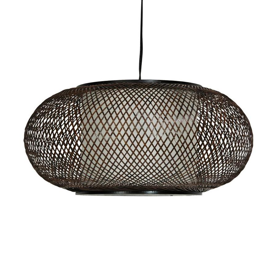 walnut plug in standard pendant light with paper shade at. Black Bedroom Furniture Sets. Home Design Ideas