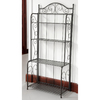 International Caravan Mandalay Antique Black Rectangular Bakers Rack