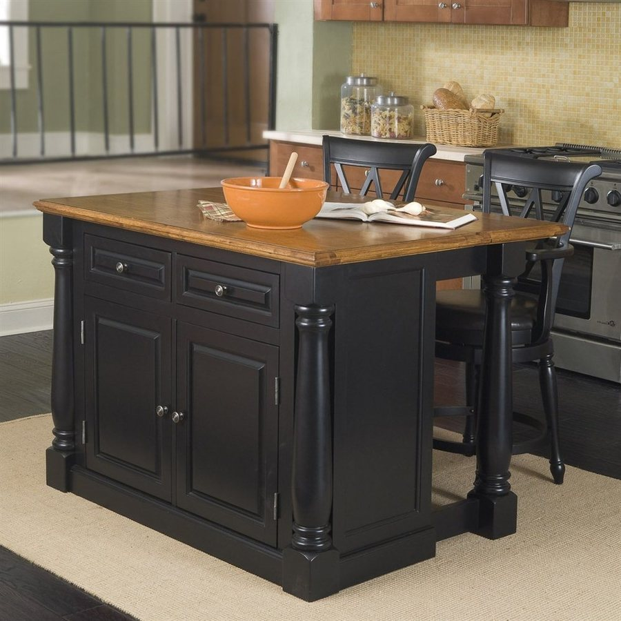 25 in W x 36 in H Black Kitchen Island with 2 Stools at Lowes com