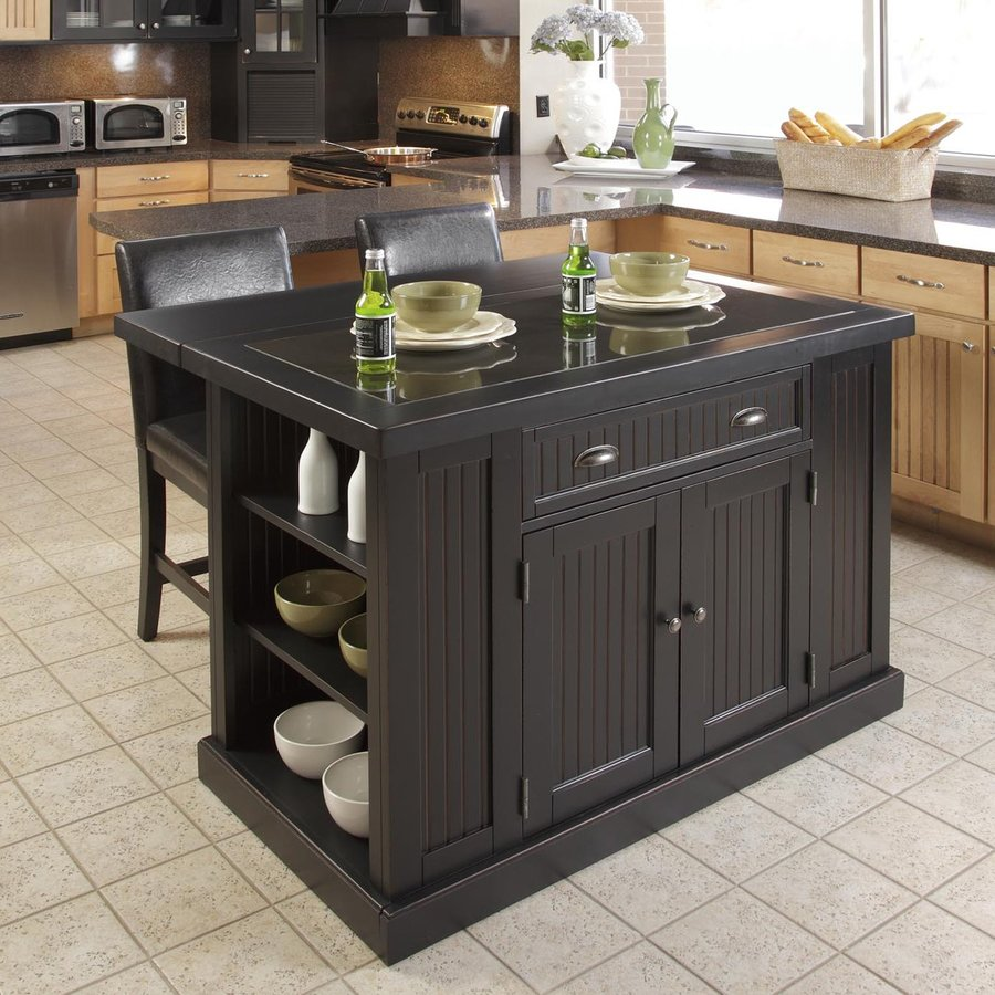 Shop Home Styles 48 in L X 37 in W 3625 in H Distressed Black Kitchen Island At Lowescom