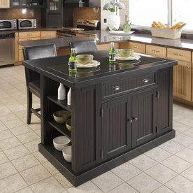 Home Styles 48-in L x 37-in W x 36.25-in H Distressed Black Kitchen Island