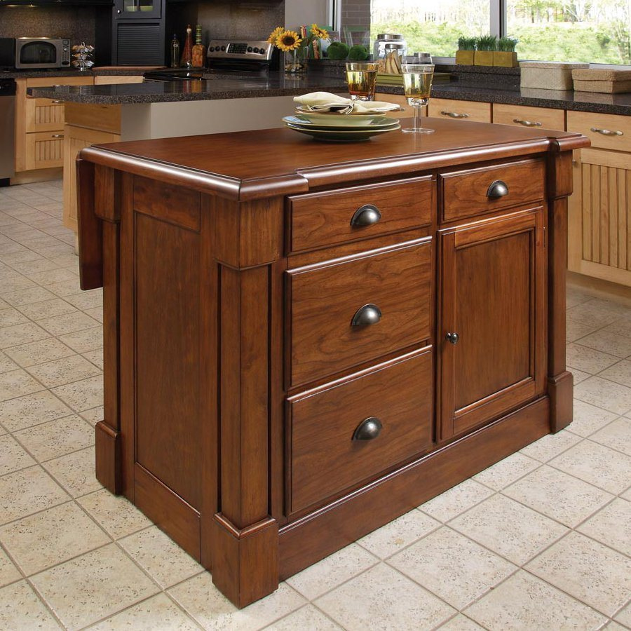 In l x 26 75 in w x 36 in h rustic cherry kitchen island at lowes com