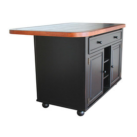 Sunset Trading 60.5-in L x 35-in W x 36.5-in H Black and Cherry Kitchen Island
