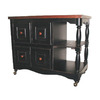 Sunset Trading 24-in L x 44-in W x 36-in H Antique Black and Cherry Kitchen Island with Casters