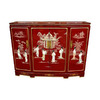 Oriental Furniture Lacquer Red Corner China Cabinet