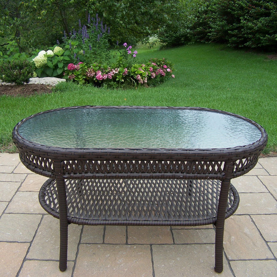 Shop Oakland Living Elite Resin Wicker Glass Oval Patio Coffee Table At