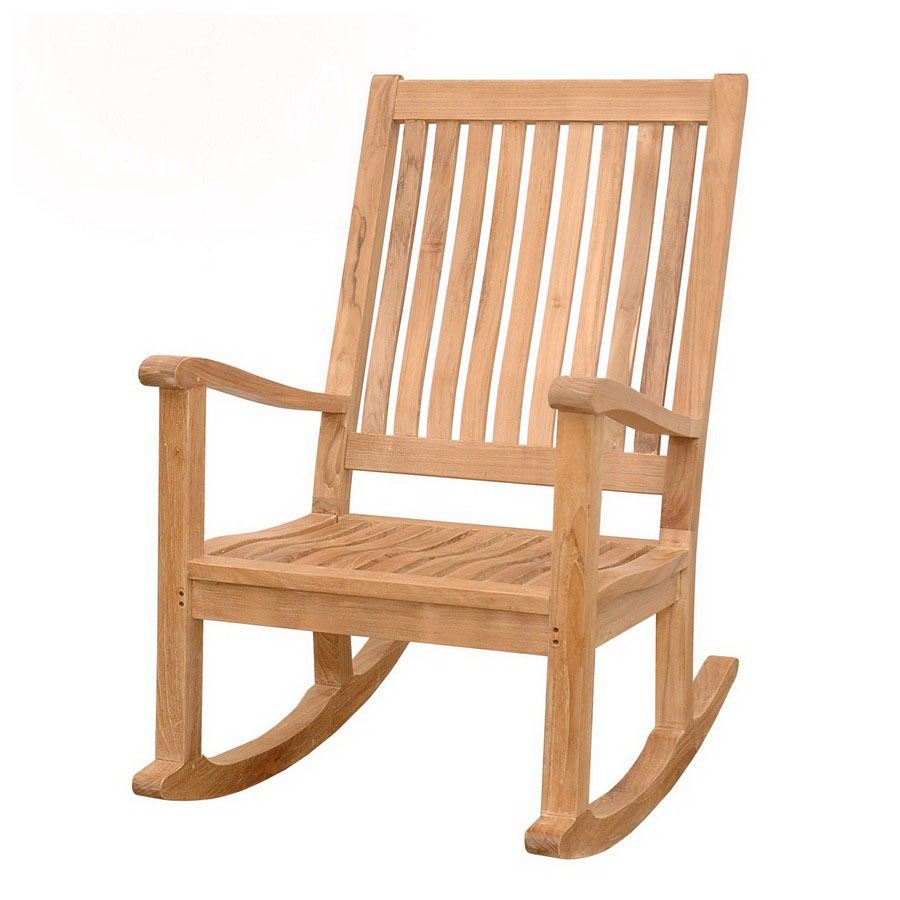 teak del amo natural teak slat seat outdoor rocking chair at