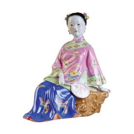 Oriental Furniture 10.5-in H Sitting Maiden Garden Statue