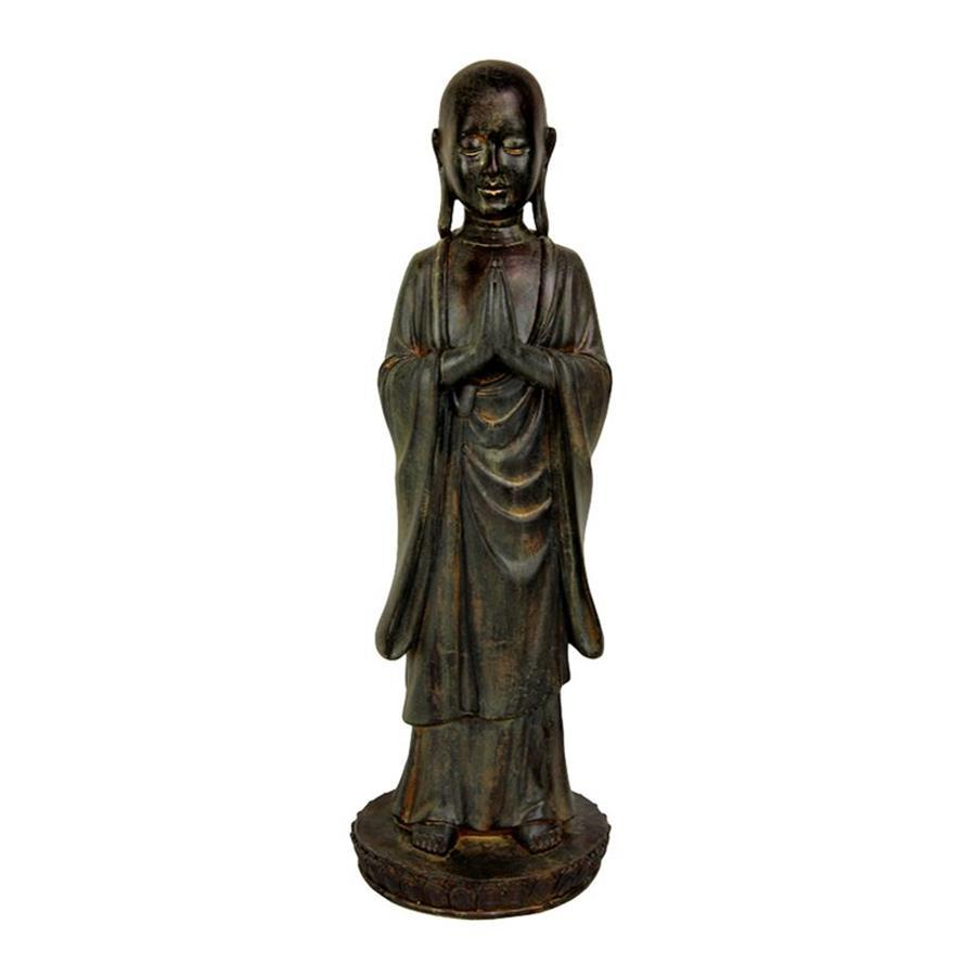 shop oriental furniture antiqued patina 22inch standing japanese zen monk tabletop statue at. Black Bedroom Furniture Sets. Home Design Ideas