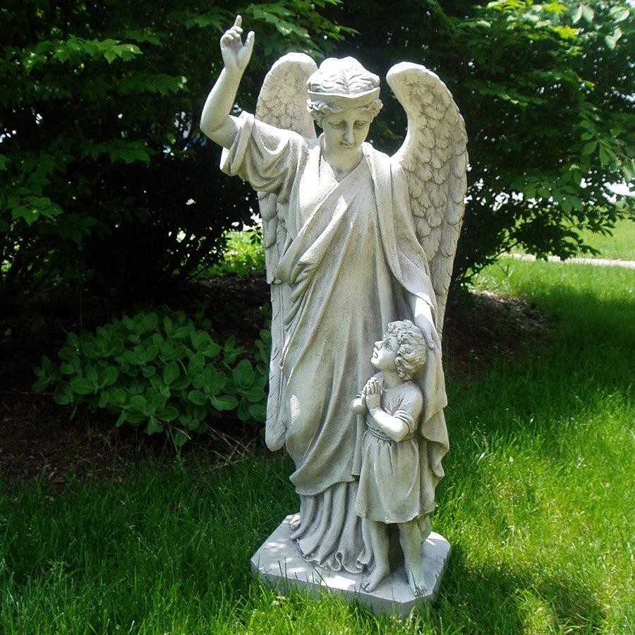 Shop design toscano 34 in h guardian angel child 39 s prayer garden statue at - Angel statue for garden ...