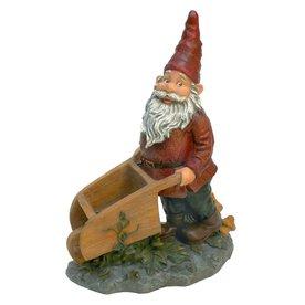 Design Toscano Wheeler with The Wheelbarrow 10.5-in Garden Gnome Statue