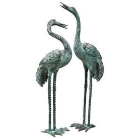 Design Toscano Large Bronze Crane Set Garden Statue