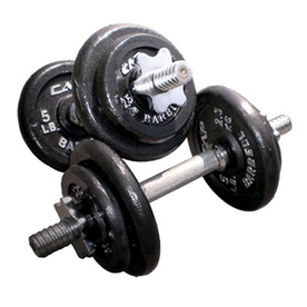 CAP Set of 8 (5 to 15 lbs) Black Adjustable Weight Dumbbells