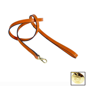 Hartman & Rose Orange Leather Dog Leash