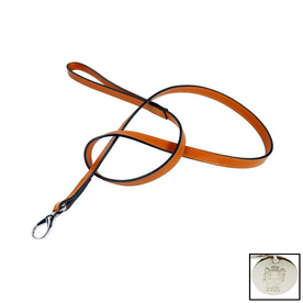 Hartman & Rose Orange Leather Dog Leash