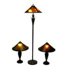 Warehouse of Tiffany 3-Piece Antique Bronze Mica Shade Lighting Lamp Set