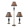 Kenroy Home Hunley 3-Piece Bronzed Brass Traditional Lamp Set with Fabric Shades
