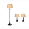 Gen-Lite 3-Piece Restoration Bronze Lamp Set with Shades