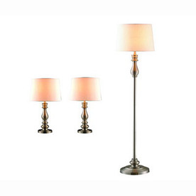 Gen-Lite 3-Piece Brushed Steel Lamp Set with Shades