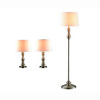 Gen-Lite 3-Piece Brushed Steel Riviera Lamp Set