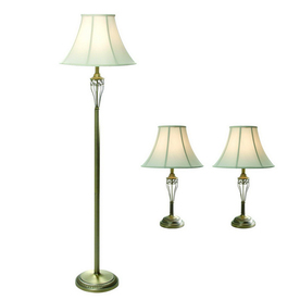 Gen-Lite 3-Piece Matte Antique Brass Lamp Set with Shades