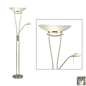 shop galaxy 71 1 2 in 2 light brushed nickel torchiere floor lamp with. Black Bedroom Furniture Sets. Home Design Ideas