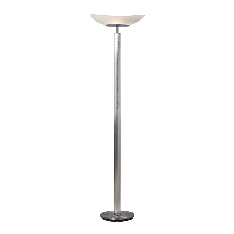 shop galaxy 71 in brushed nickel torchiere indoor floor lamp with. Black Bedroom Furniture Sets. Home Design Ideas