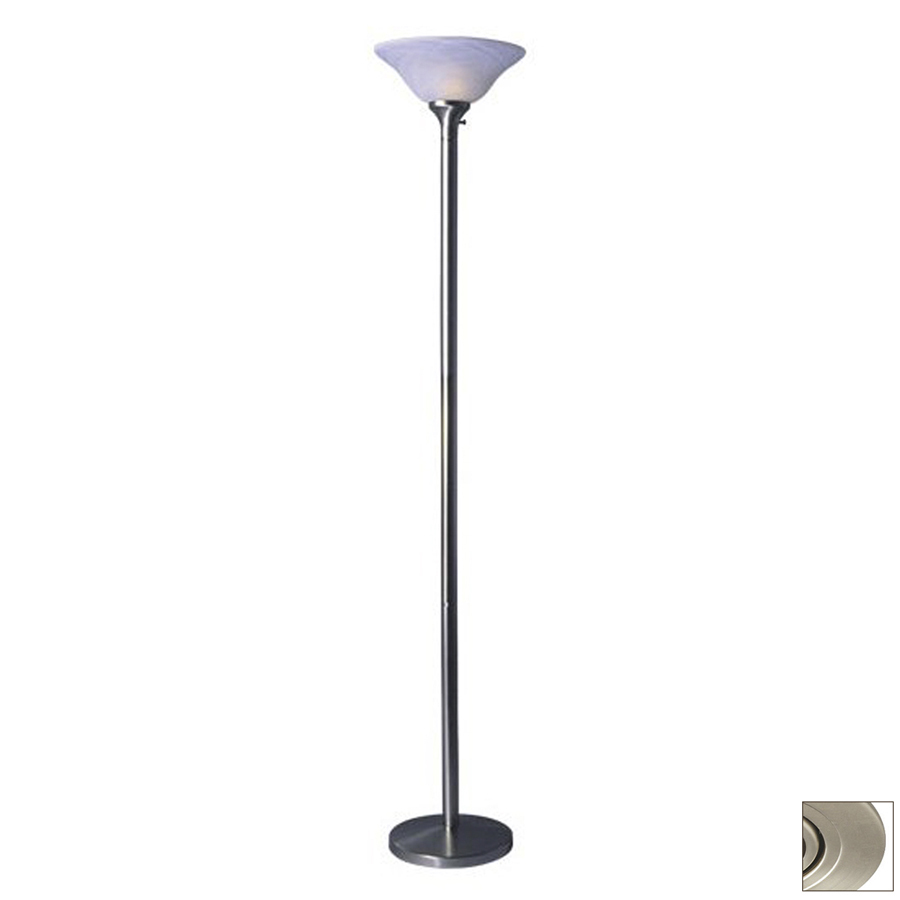 pewter torchiere indoor floor lamp with glass shade at. Black Bedroom Furniture Sets. Home Design Ideas
