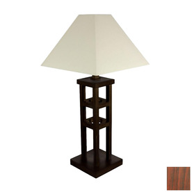 Shop oriental furniture 62 in walnut shelf indoor floor for Floor lamp with shelves lowes