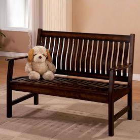 Furniture of America La Conchita Dark Walnut Indoor Entryway Bench