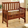 Furniture of America Pine Crest Oak Indoor Entryway Bench with Storage