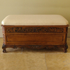 International Caravan Carved Wood Stain Indoor Accent Bench with Storage
