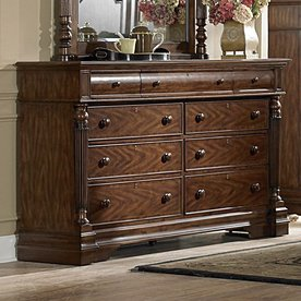 Shop Homelegance English Manor Distressed Mahogany 9 Drawer Dresser At