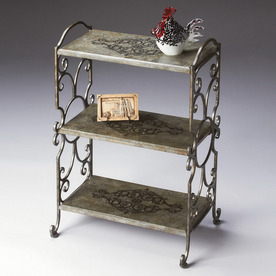 Butler Specialty Metalworks Pewter 32-in 3-Shelf Bookcase