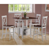 Monarch Specialties White Walnut Dining Set