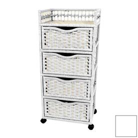 Shop oriental furniture natural fiber white standard chest at - Bed casters lowes ...