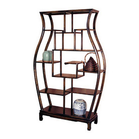 Oriental Furniture Decorative Storage Dark Mahogany 63-in 10-Shelf Bookcase