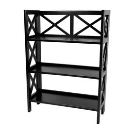 Oriental Furniture Classic Design Black 37.5-in 3-Shelf Bookcase