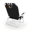 Picnic Time Black NCAA Miami Hurricanes Steel Folding Beach Chair