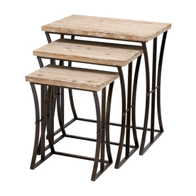 Shop woodland imports black metal accent table set at lowes com