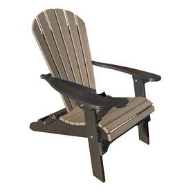 Phat Tommy Weatherwood/Black Plastic Folding Patio Adirondack Chair