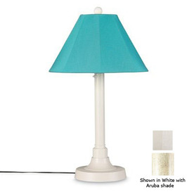 Patio Living Concepts 34-in Bisque Outdoor Table Lamp with Fabric Shade