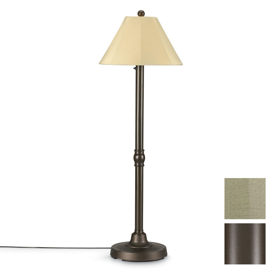60 in h bronze outdoor floor lamp with fabric shade at. Black Bedroom Furniture Sets. Home Design Ideas